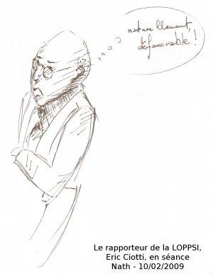 Nath, présente en séance, fait des croquis des débats LOPP... on Twitpic