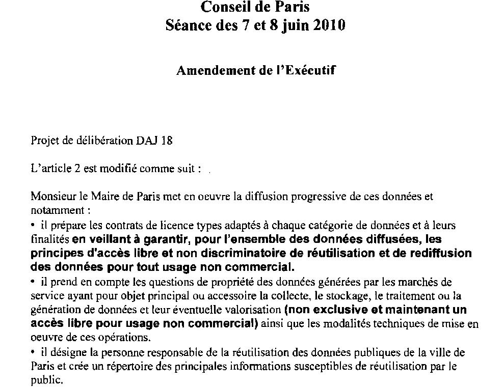 Amendement de l'exécutif du Conseil de Paris à la délibération DAJ 18 pour le Conseil des 7 et 8 juin 2010