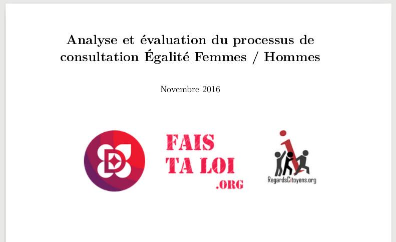 rapport citoyen de la consultation egalité Femmes / Hommes